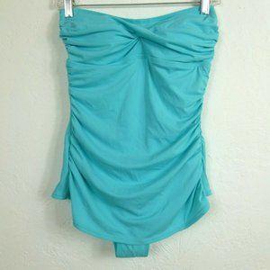 Jantzen Swimsuit 10 One piece Aqua Ruched Bandeau
